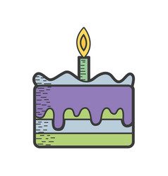tasty cake desset with candle to eat vector image