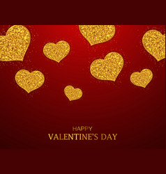 valentines day background gold glitter hearts vector image vector image