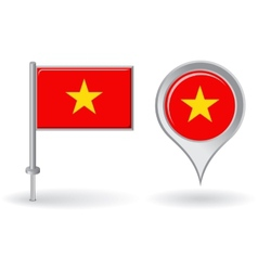 Vietnamese pin icon and map pointer flag vector image