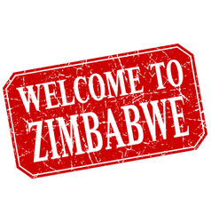 Welcome to zimbabwe red square grunge stamp vector