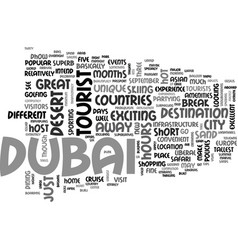 What to see and do in dubai text word cloud vector