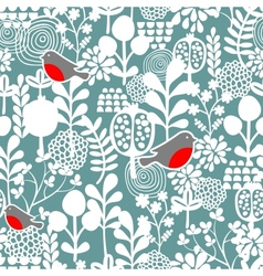 Winter birds and frozen flowers seamless pattern vector image vector image