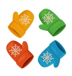 Winter Mittens Colorful Set vector image