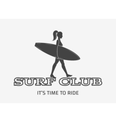 Woman goes surfing with surfboard surf vintage vector