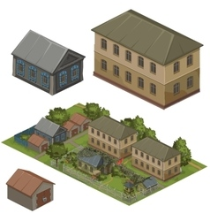Wooden houses on green street city vector