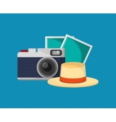 Camera with vacation travel icons image vector