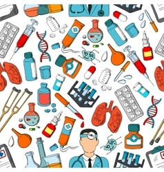 Medicine tools and teatment seamless pattern vector