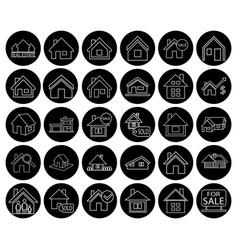 Flat black real estate icon set vector
