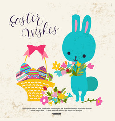easter greeting card with cute bunny flower basket vector image