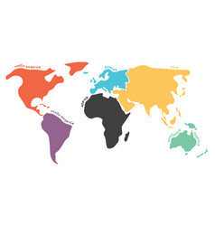 multicolored simplified world map divided to vector image
