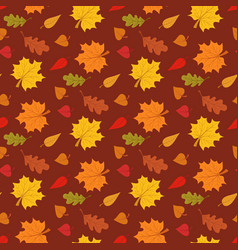 Fall season seamless pattern with leafs on brown vector