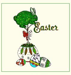 Easter topiary bunny vector