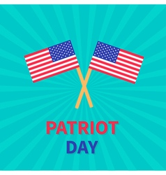 Two flags patriot day card sunburst background vector