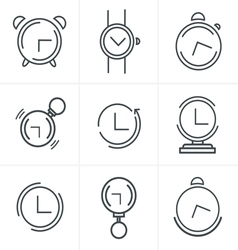 Time clock line icons set design vector
