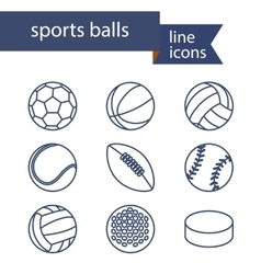 Set of line icons of sport balls vector