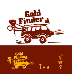 Gold rush car vector