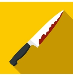 Knife with blood icon flat style vector image