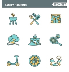 Icons line set premium quality of family camping vector