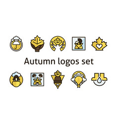 autumn logos set maple leaf products for vector image vector image
