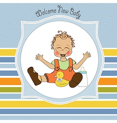 baby boy playing with his duck toy welcome baby vector image vector image