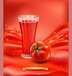 Background with a glass of tomato juice tomato vector