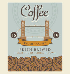 banner with coffee beans and london tower bridge vector image vector image