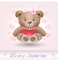 Beautiful teddy bear girl in love vector