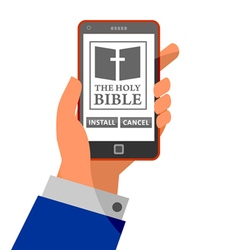 Bible application about to install on smartphone vector image vector image