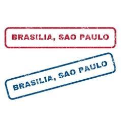 Brasilia sao paulo rubber stamps vector