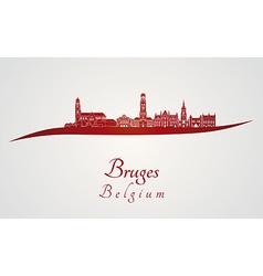 Bruges skyline in red vector