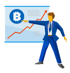 businessman shows a poster with bitcoin vector image