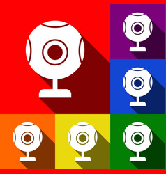 Chat web camera sign set of icons with vector