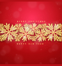 christmas gold glittering snowflakes background vector image vector image