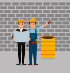 Construction workers engineer foreman vector