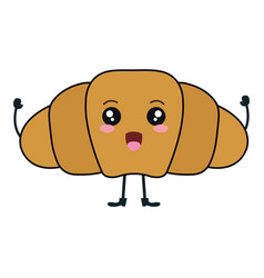 Delicious croissant bread kawaii character vector