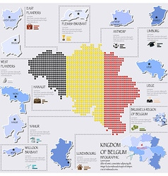 Dot and flag map of belgium infographic design vector
