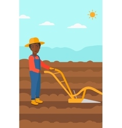 Farmer on the field with plough vector image