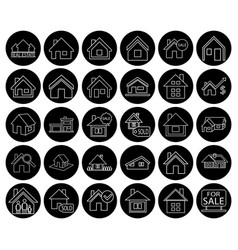 Flat black real estate icon set vector