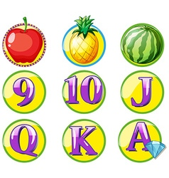 Game token with fruits and numbers vector