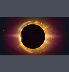 Glow light effect the planet covering the sun in vector