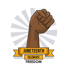 Juneteenth day hand up liberty campaign poster vector