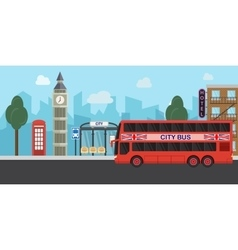 London united kingdom big ben tower flat design vector