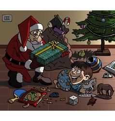 santa bringing gift vector image vector image