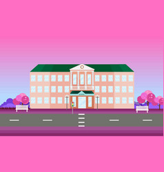 School building facade in spring season vector