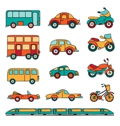 set of cartoon land transport vector image vector image