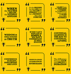 Set of motivational quotes about learning mistakes vector