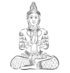 Sitting buddha black vector
