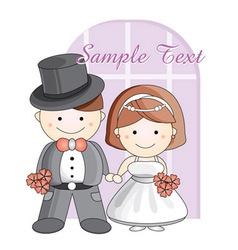 wedding cartoon vector image vector image