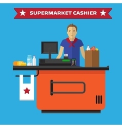 Young cashier man standing in supermarket vector