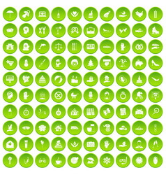 100 joy icons set green vector